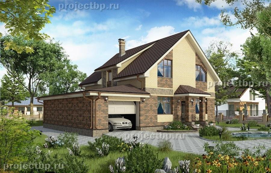 Проект одноэтажного дома с мансардой, верандой и гаражом 190-B